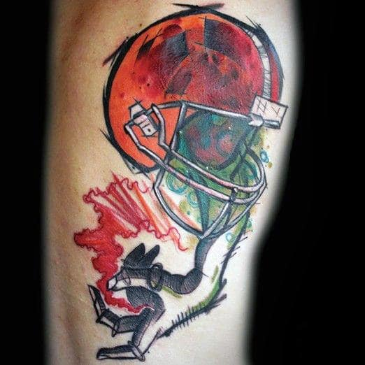 Watercolor Football Helmet With Hand Mens Creative Rib Cage Side Tattoos