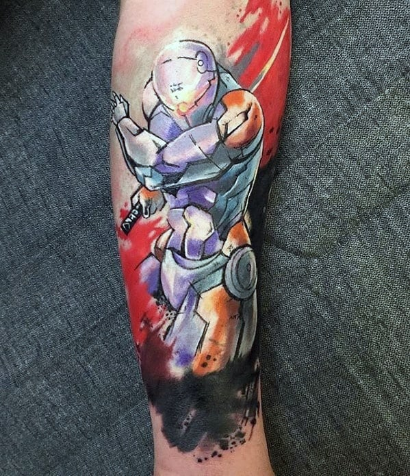 Watercolor Forearm Distinctive Male Metal Gear Tattoo Designs