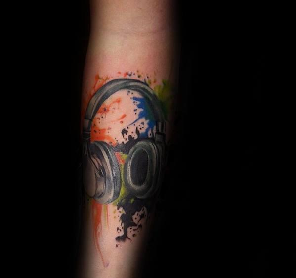 Watercolor Forearm Headphones Tattoos For Gentlemen