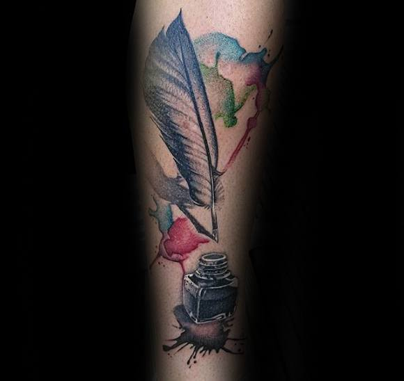 Watercolor Forearmdistinctive Male Quill Tattoo Designs