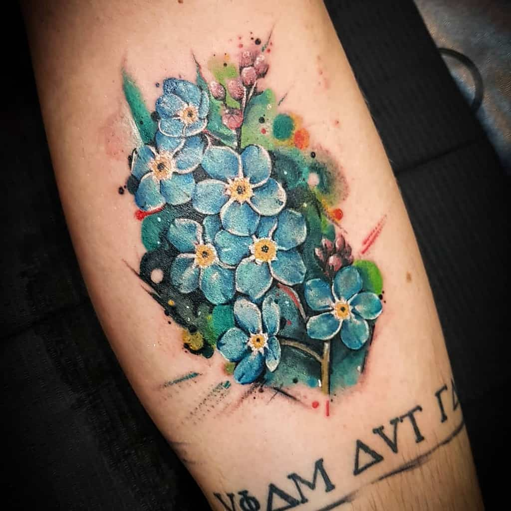 watercolor forget me not tattoos electrik_ink_timisoara
