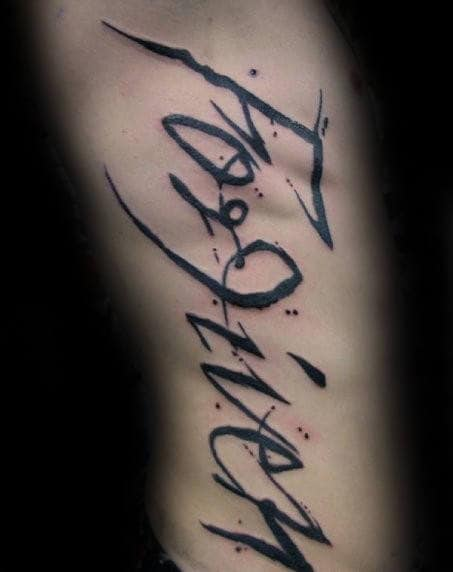 Watercolor Forgiven Rib Cage Side Tattoos For Men
