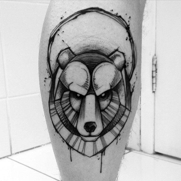 Watercolor Geometric Bear Guys Tatto Odesigns On Lower Leg