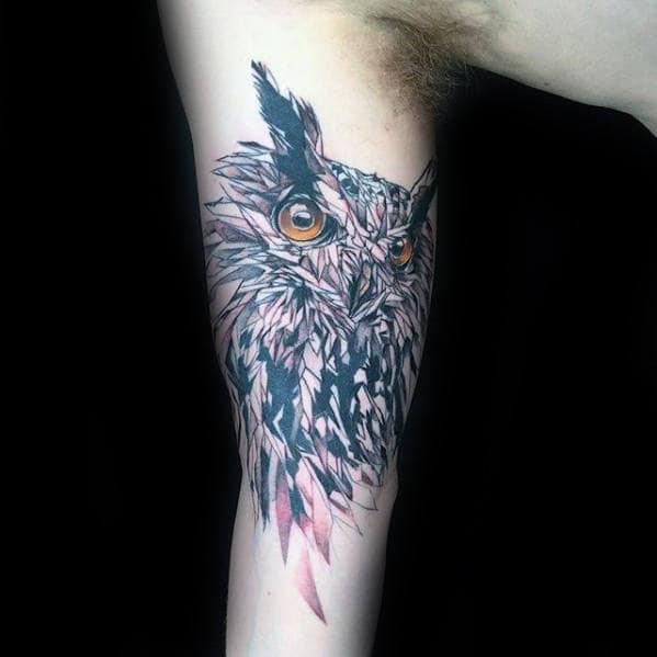 Watercolor Geometric Owl Mens Inner Arm Bicep Tattoo