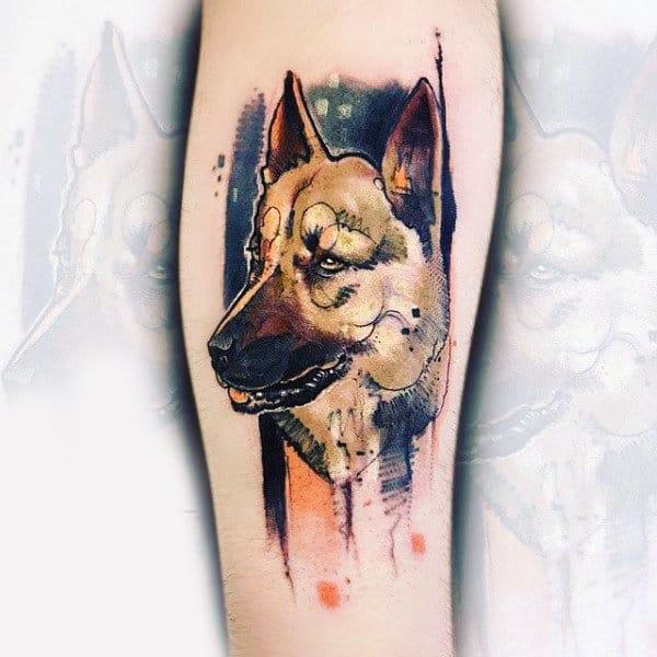 Watercolor German Shepard Mens Forearm Tattoo