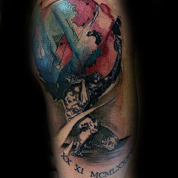 Watercolor God Of Endurance Atlas Mens Upper Arm Tattoo