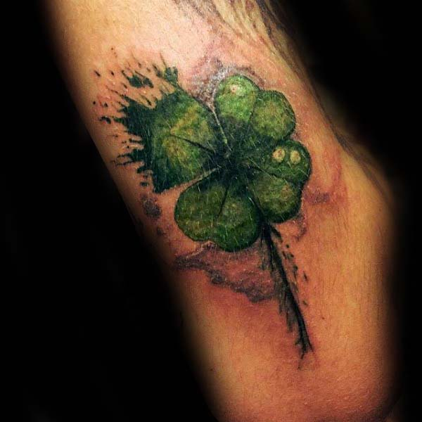 Watercolor Green Four Leaf Clover Male Irish Arm Tattoo Ideas