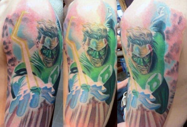 Watercolor Green Lantern Male Arm Tattoo Half Sleeve