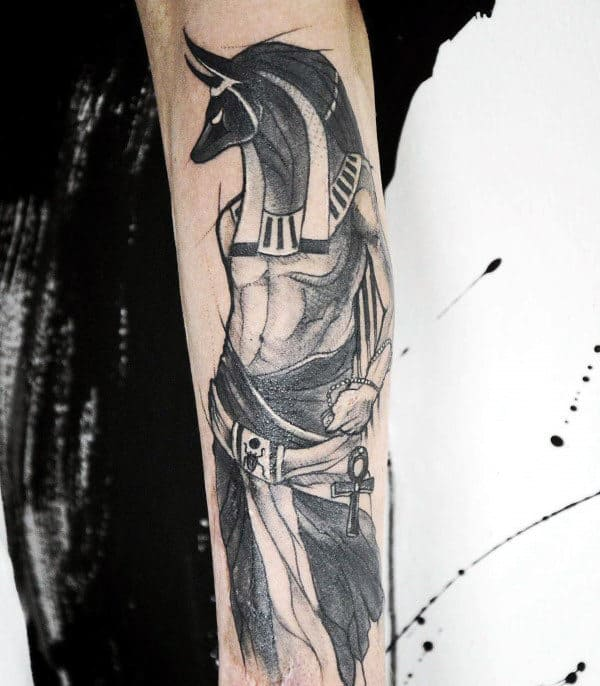 Watercolor Guys Anubis Black Ink Forearm Tattoos