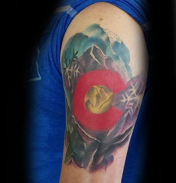Watercolor Guys Arm Colorado Inspired Tattoo Ideas