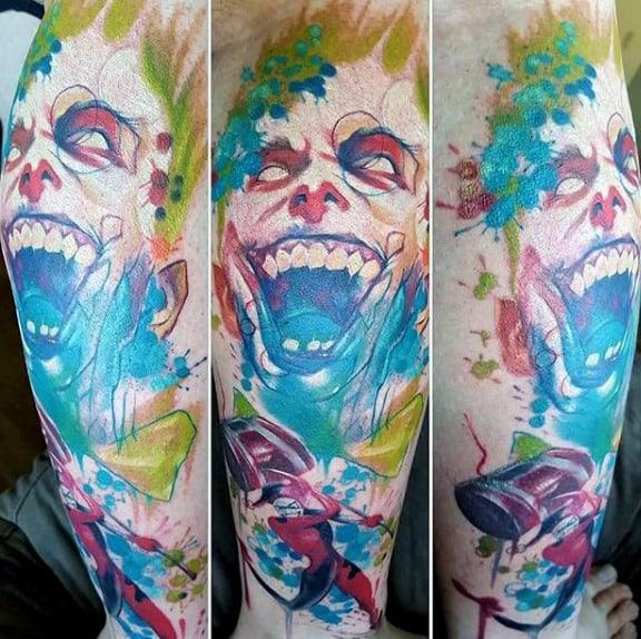 Watercolor Guys Artistic Joker Leg Tattoo Designs