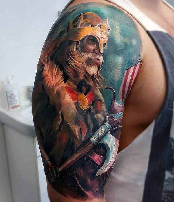 Watercolor Guys Badass Half Sleeve Viking Arm Tattoo
