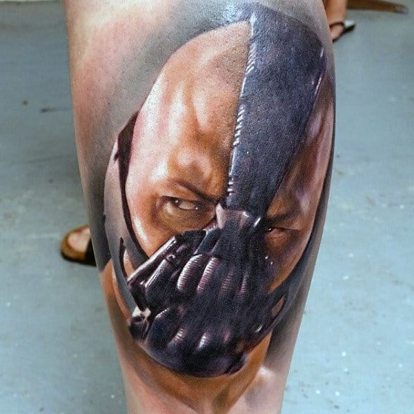 Watercolor Guys Bane Leg Tattoo
