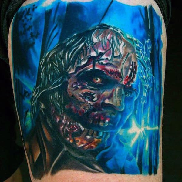 Watercolor Guys Blue Ink Zombie Tattoo Design Idea Inspiration
