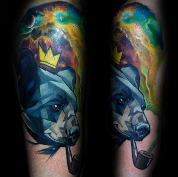 Watercolor Guys Geometric Bear Arm Tattoo With Outer Space Design