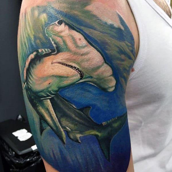 Watercolor Guys Half Sleeve Hammerhead Shark Tattoo Design Ideas