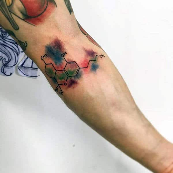 Watercolor Guys Inner Forearm Chemistry Tattoo Designs
