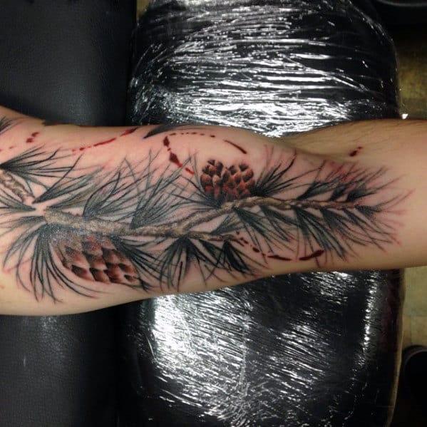 Watercolor Guys Pine Cone Arm Tattoo Designs