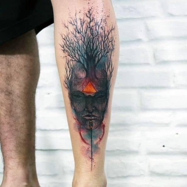 Watercolor Guys Tree Leg Tattoo Design Ideas