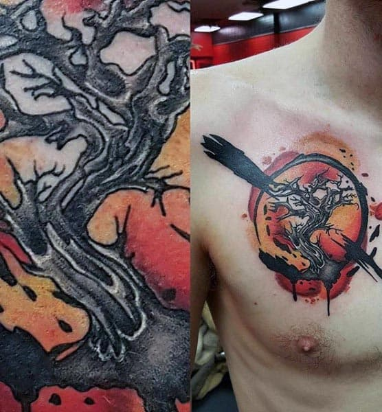 Watercolor Guys Tree Of Life Upper Chest Tattoos