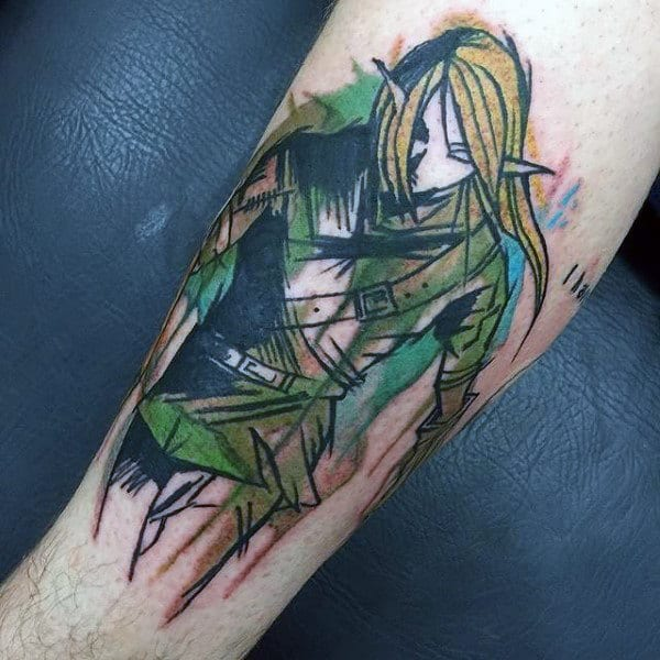 Watercolor Guys Zelda Arm Tattoo