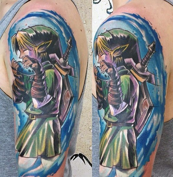 Watercolor Guys Zelda Arm Tattoos