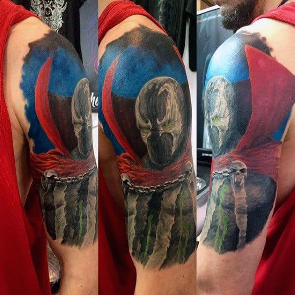 Watercolor Half Sleeve Male Spawn Tattoos