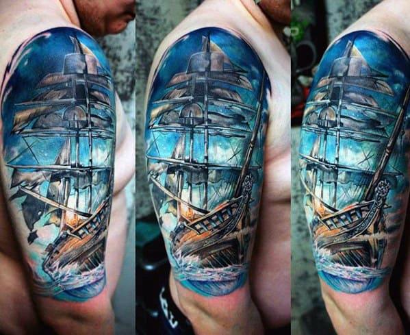 Watercolor Half Sleeve Sweet Mens Sailing Ship Tattoos