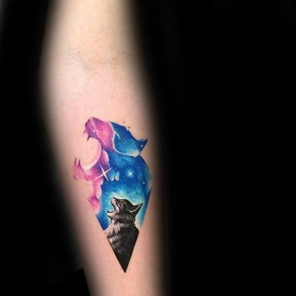 Watercolor Howling Cat Cat Tattoos