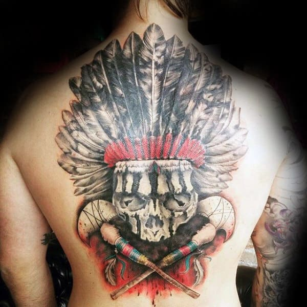 Watercolor Indian Skull Tattoo For Males On Back