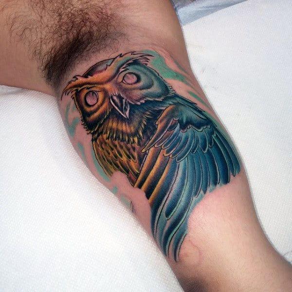 Watercolor Inner Arm Owl Tattoo For Men