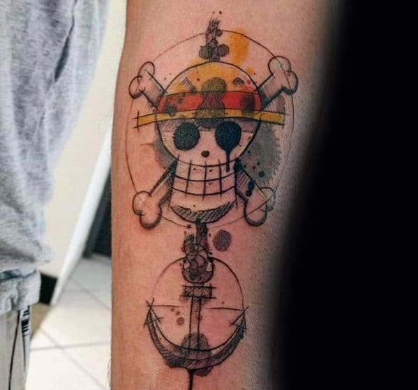 Watercolor Inner Forearm Guys Tattoos With One Piece Design