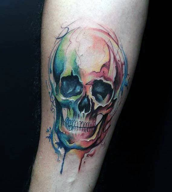 Watercolor Inner Forearm Skull Guys Tattoo Ideas