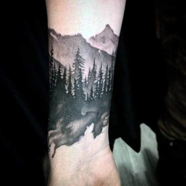 Watercolor Inner Forearms Tattoo For Gentlemen