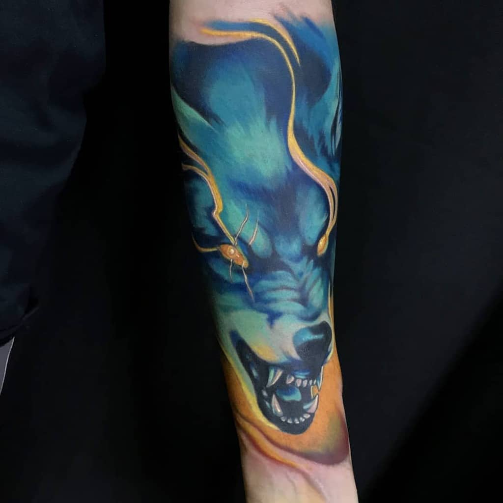 watercolor japanese wolf tattoo mihail_tatuador