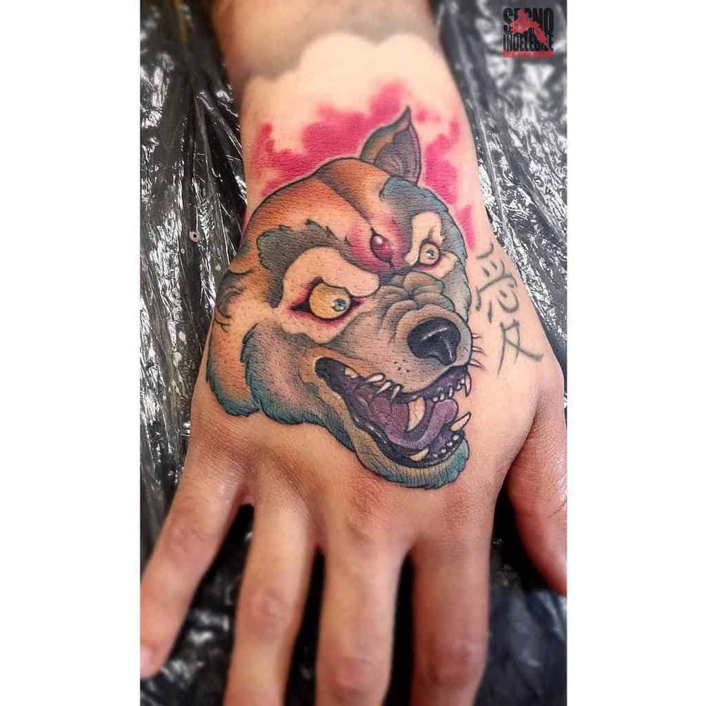 watercolor japanese wolf tattoo pasquale_psyko