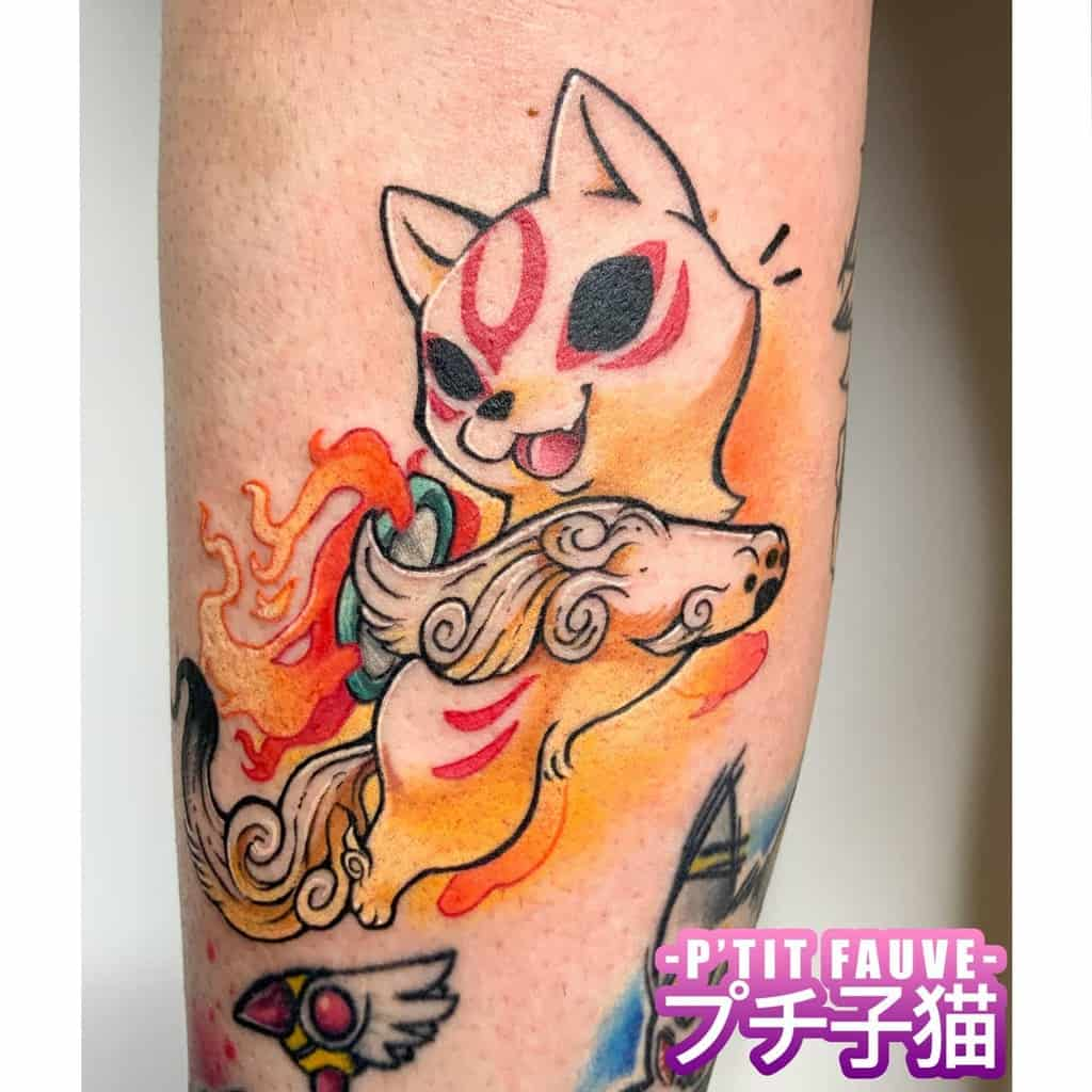 watercolor japanese wolf tattoo ptit_fauve