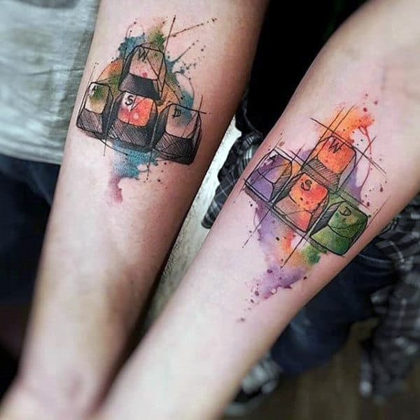 Watercolor Keyboard Keys Video Game Inspired Tattoos For Guys