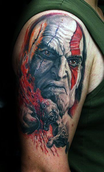 Watercolor Kratos Male Arm Tattoo