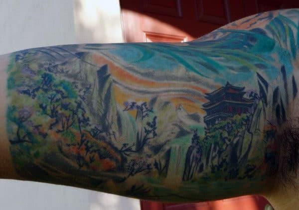 Watercolor Landscape Mens Half Sleeve Japanese Tattoo Ideas