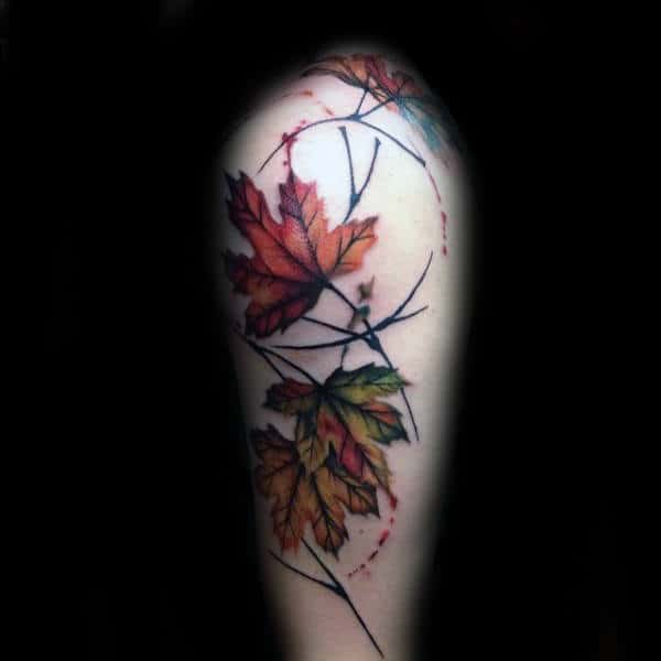 Watercolor Leaves Arm Fall Tattoo Inspiration For Males