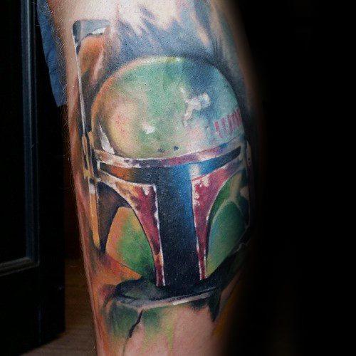 Watercolor Leg Calf Guys Mandalorian Tattoos