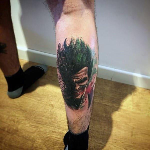 Watercolor Leg Calf Male Joker Tattoo Ideas