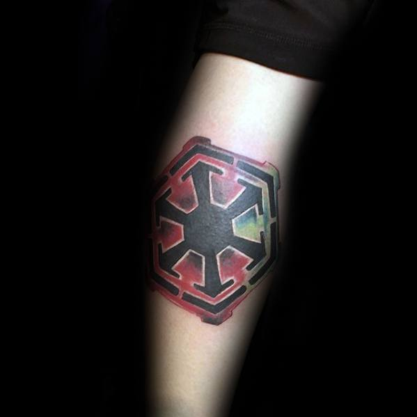 Watercolor Leg Calf Sith Symbol Tattoo Ideas On Guys
