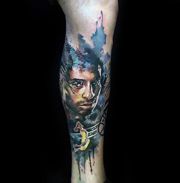 Watercolor Leg Kobe Bryant Mens Tattoo Designs