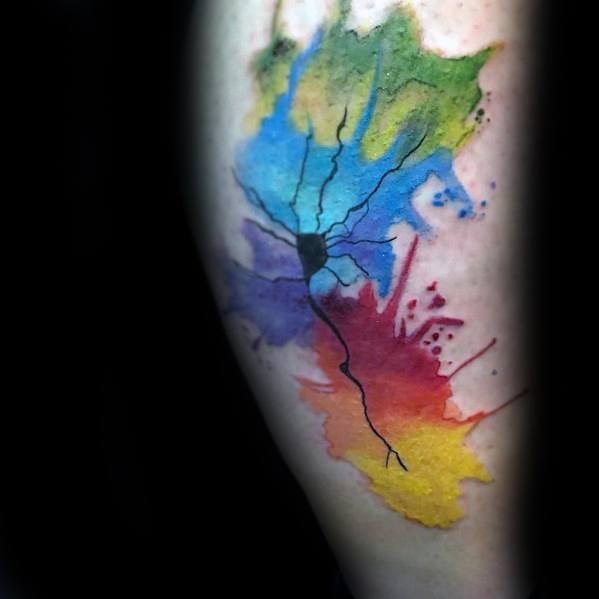 Watercolor Leg Male Neuron Tattoo Ideas