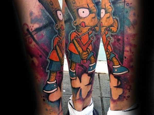 Watercolor Leg Sleeve Creative Bart Simpson Tattoos For Men