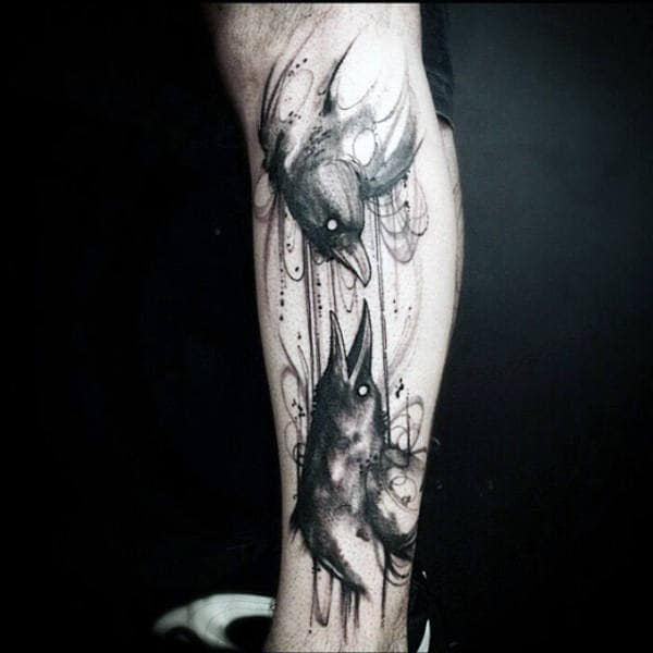 Watercolor Leg Tattoo Of Crow For Males