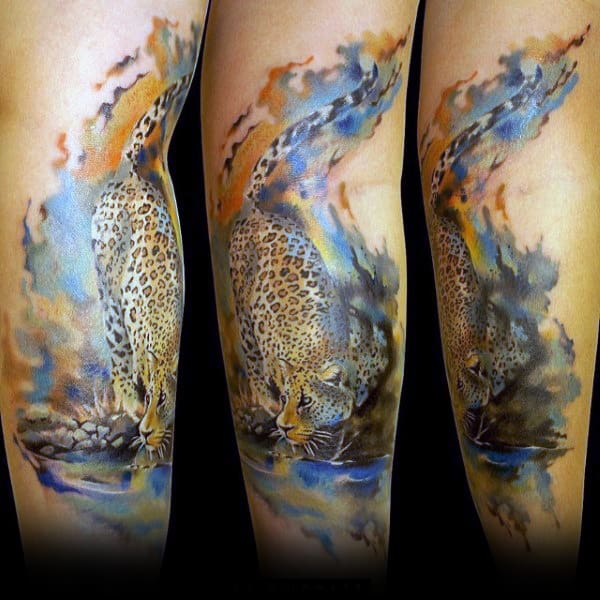 Watercolor Leopard Guys Forearm Tattoo Designs