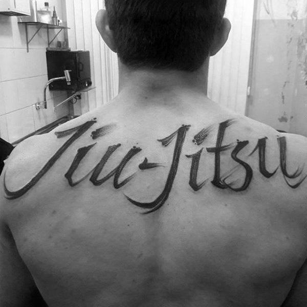 Watercolor Lettering Male Jiu Jitsu Upper Back Tattoo